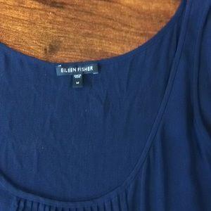 Eileen Fisher blue sleeveless silk dress Sz M